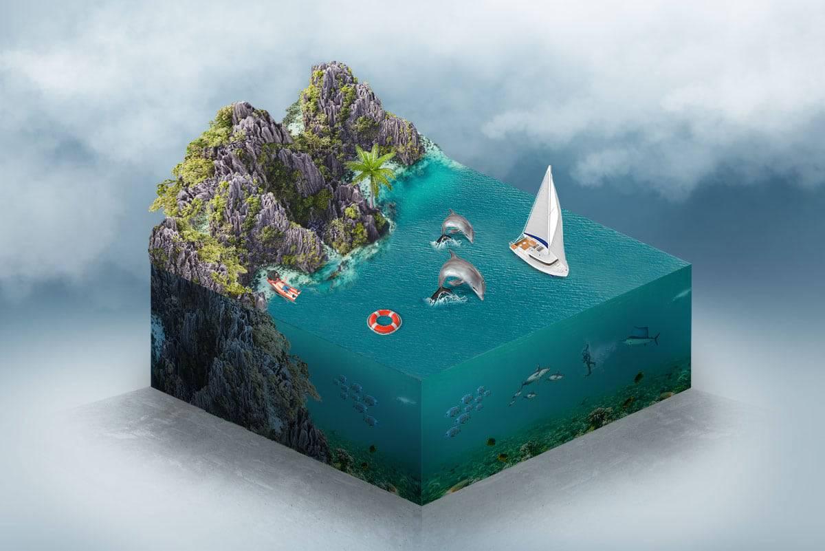 arte digital miniworld con photoshop